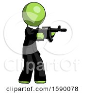 Green Clergy Man Shooting Automatic Assault Weapon