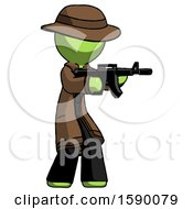 Green Detective Man Shooting Automatic Assault Weapon