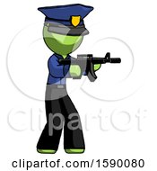 Green Police Man Shooting Automatic Assault Weapon