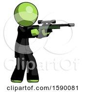 Green Clergy Man Shooting Sniper Rifle