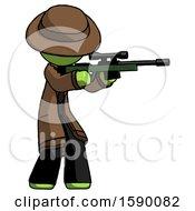 Green Detective Man Shooting Sniper Rifle