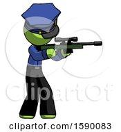 Green Police Man Shooting Sniper Rifle