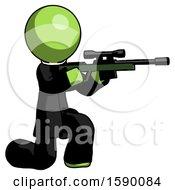 Green Clergy Man Kneeling Shooting Sniper Rifle
