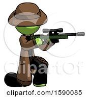 Green Detective Man Kneeling Shooting Sniper Rifle