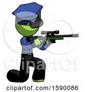 Green Police Man Kneeling Shooting Sniper Rifle