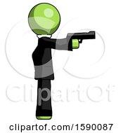 Green Clergy Man Firing A Handgun