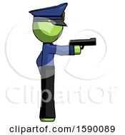 Green Police Man Firing A Handgun