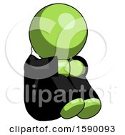 Green Clergy Man Sitting With Head Down Facing Angle Right