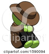 Green Detective Man Sitting With Head Down Facing Angle Right