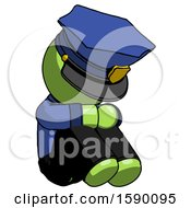 Green Police Man Sitting With Head Down Facing Angle Right