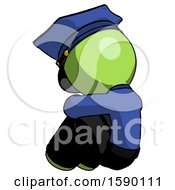 Green Police Man Sitting With Head Down Back View Facing Left