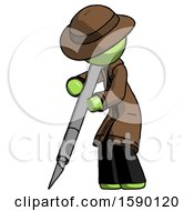 Green Detective Man Cutting With Large Scalpel
