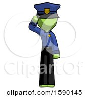 Green Police Man Soldier Salute Pose