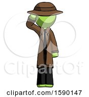 Green Detective Man Soldier Salute Pose
