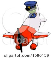 Green Police Man In Geebee Stunt Plane Descending Front Angle View