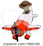 Green Detective Man In Geebee Stunt Plane Descending Front Angle View