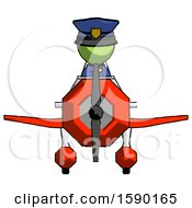 Green Police Man In Geebee Stunt Plane Front View