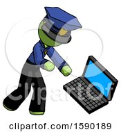 Green Police Man Throwing Laptop Computer In Frustration