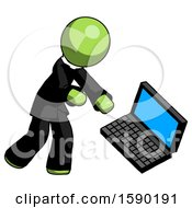 Green Clergy Man Throwing Laptop Computer In Frustration