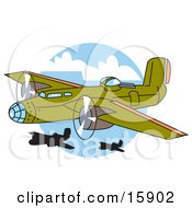 Green Bomber Plane Flying Near Other Planes Clipart Illustration