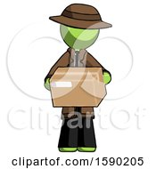 Green Detective Man Holding Box Sent Or Arriving In Mail
