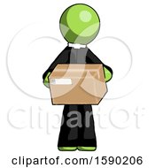 Green Clergy Man Holding Box Sent Or Arriving In Mail