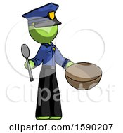 Green Police Man With Empty Bowl And Spoon Ready To Make Something