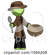 Green Detective Man With Empty Bowl And Spoon Ready To Make Something