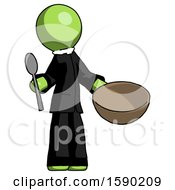 Green Clergy Man With Empty Bowl And Spoon Ready To Make Something