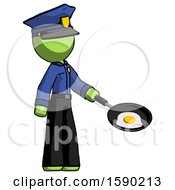 Poster, Art Print Of Green Police Man Frying Egg In Pan Or Wok Facing Right