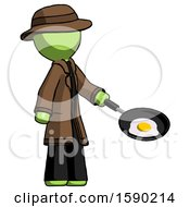 Green Detective Man Frying Egg In Pan Or Wok Facing Right