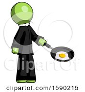 Green Clergy Man Frying Egg In Pan Or Wok Facing Right