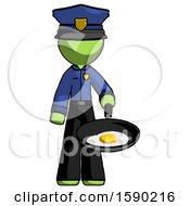 Poster, Art Print Of Green Police Man Frying Egg In Pan Or Wok