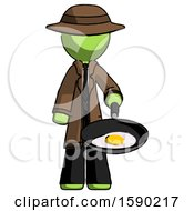 Green Detective Man Frying Egg In Pan Or Wok