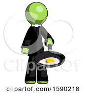 Green Clergy Man Frying Egg In Pan Or Wok
