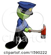 Green Police Man With Ax Hitting Striking Or Chopping