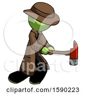 Green Detective Man With Ax Hitting Striking Or Chopping