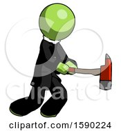 Green Clergy Man With Ax Hitting Striking Or Chopping