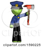 Green Police Man Holding Up Red Firefighters Ax