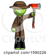 Green Detective Man Holding Up Red Firefighters Ax