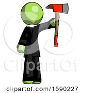 Green Clergy Man Holding Up Red Firefighters Ax