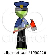 Green Police Man Holding Red Fire Fighters Ax