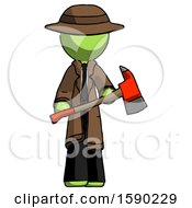 Green Detective Man Holding Red Fire Fighters Ax