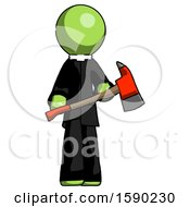 Green Clergy Man Holding Red Fire Fighters Ax