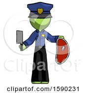 Green Police Man Holding Large Steak With Butcher Knife