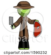 Green Detective Man Holding Large Steak With Butcher Knife