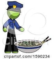 Green Police Man And Noodle Bowl Giant Soup Restaraunt Concept
