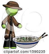 Green Detective Man And Noodle Bowl Giant Soup Restaraunt Concept