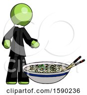 Green Clergy Man And Noodle Bowl Giant Soup Restaraunt Concept