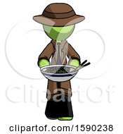 Green Detective Man Serving Or Presenting Noodles
